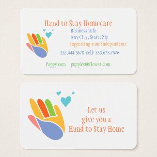 Hand, zum der Zuhause-Sorgfalt-Geschäfts-Karte zu Visitenkarte