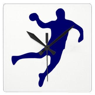 Handball-Silhouette Quadratische Wanduhr