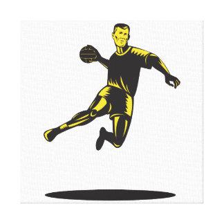 Handball-Spieler-Springen Retro Gespannte Galerie Drucke