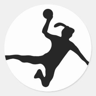 Handball spielerin frauenhandball runder aufkleber