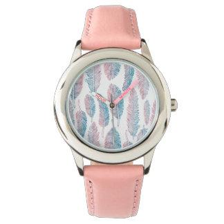 Handdrawn blaue rosa Feder HipsterWatercolor Uhr