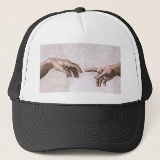 Hände des Gottes und des Adams, die Schaffung - Truckerkappe