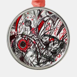 Hände des Raserei-Stift-Zeichnens Rundes Silberfarbenes Ornament