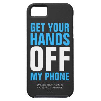 Hände WEG vom Telefon-personalisierten Blau Etui Fürs iPhone 5