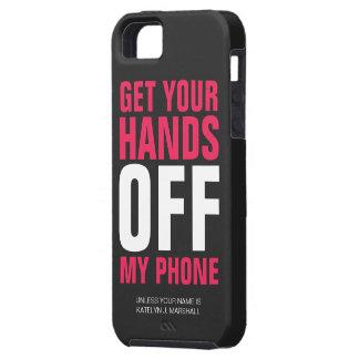 Hände WEG vom Telefon-personalisierten heißen Rosa iPhone 5 Schutzhüllen