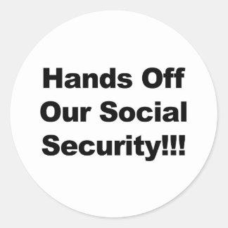 Hände weg von der Sozialversicherung Runder Aufkleber