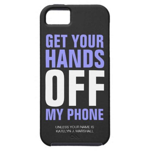 Hände WEG VON Telefon-personalisiertem Lila iPhone 5 Case