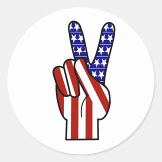 Handfriedenszeichen - rotes weißes u. blau runder aufkleber
