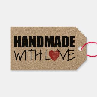 HANDGEMACHT mit Liebe roter Herz-Briefmarke Geschenkanhänger