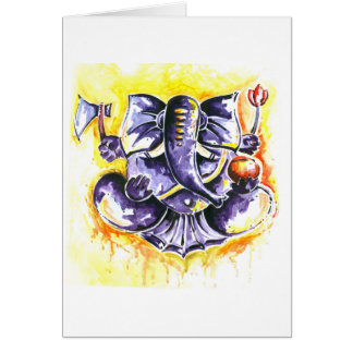 Handgemachte abstrakte Malerei von Lord Ganesha Karte
