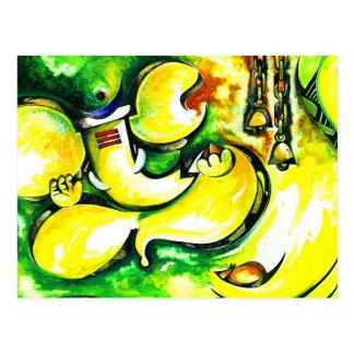 Handgemachte abstrakte Malerei von Lord Ganesha Postkarte
