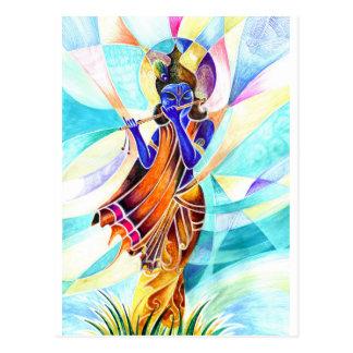 Handgemachte abstrakte Malerei von Lord Krishna Postkarte