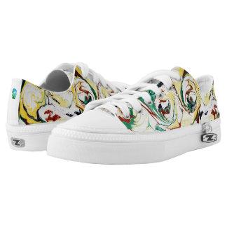 Handgemachte gemarmorte Blumen Niedrig-geschnittene Sneaker