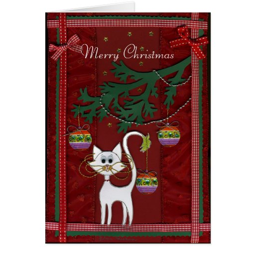 handgemachte miezekatze klingel frohe weihnachten karte. Black Bedroom Furniture Sets. Home Design Ideas