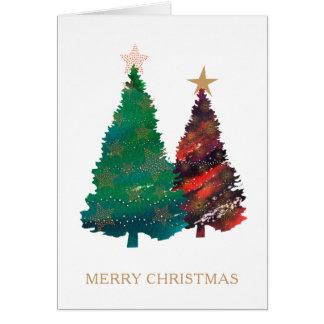 Handgemalte funkelnd Watercolor-Weihnachtsbäume Karte