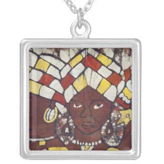 Handgemalte Gewebe, die jeden Tag darstellen Halskette Mit Quadratischem Anhänger