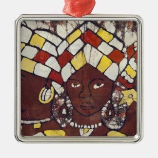 Handgemalte Gewebe, die jeden Tag darstellen Quadratisches Silberfarbenes Ornament