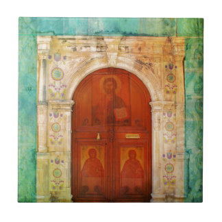 Handgemalte Jesus Christus-Ikonen-Tür-griechisches Fliese