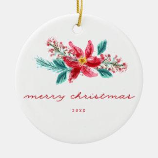 Handgemalte personalisierte Weihnachtsverzierung Rundes Keramik Ornament