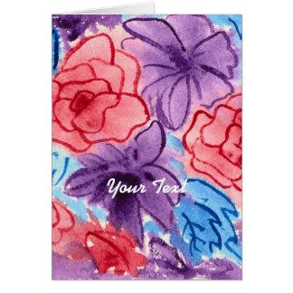 Handgemalte Watercolor-Rote Rosenlila Clematis Karte