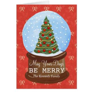 handgemalte Weihnachtsbaum-Schnekugel Karte