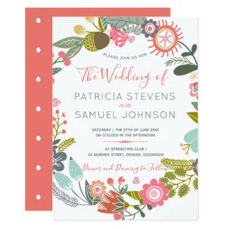 Handgemalte Wildblumenwiese Wreathhochzeit Karte