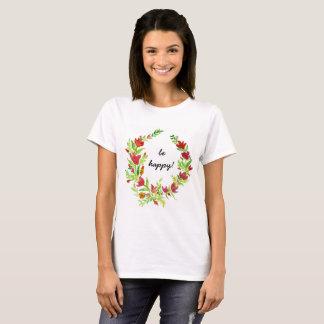 Handgemalter Flora-Kranz mit Text T-Shirt