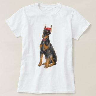 Handgemalter Hipster-Dobermannpinscher-Hund T-Shirt