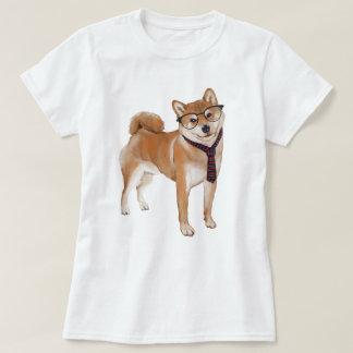 Handgemalter Hipster Shiba Inu Japaner-Hund T-Shirt