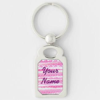 Handgemalter rosa Watercolor-Girly Wasserlilien Schlüsselanhänger