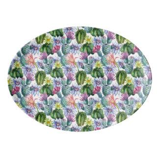 Handgemaltes Aquarell-Kaktus-Muster Porzellan Servierplatte