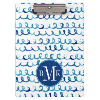 Handgemaltes blaues Aquarell-gewelltes Profil Klemmbrett