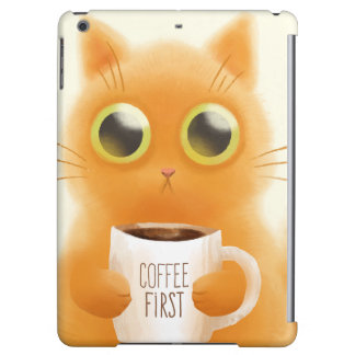 Handgemaltes niedliches Kätzchen mit Kaffee höhlen