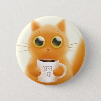 Handgemaltes niedliches Kätzchen mit Kaffee höhlen Runder Button 5,7 Cm