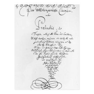 Handgeschriebenes Titlepage des Brunnens gemildert Postkarten