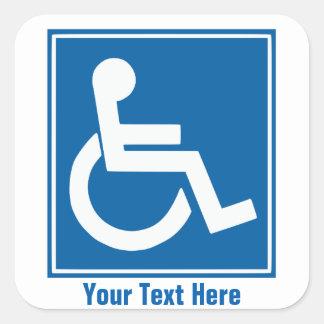 Handikap-Zeichen-Aufkleber Quadratischer Aufkleber