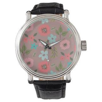 Handillustrierter Blumendruck Uhr