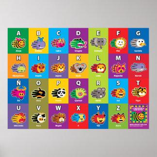 Handlebewesen-Spanisch ABC-Alphabet für Kinder Poster