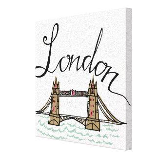 Handmit buchstaben gekennzeichnete London-Brücke 2 Leinwanddruck