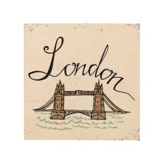 Handmit buchstaben gekennzeichnete London-Brücke 5 Holzleinwand