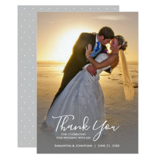Handschrifts-danken vertikale Foto-Hochzeit Ihnen Karte