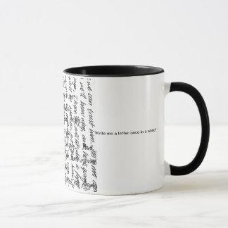 handscript, schreiben mir einen Brief hin und Tasse
