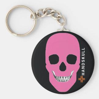HANDSKULL rebellischer rosa, glücklicher Schädel, Schlüsselanhänger