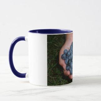Handvoll frische Blaubeeren Tasse