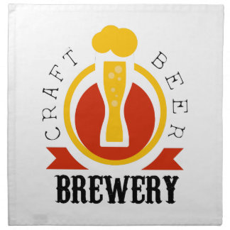 Handwerks-Bier-Brauerei-Logo-Entwurfs-Schablone Stoffserviette
