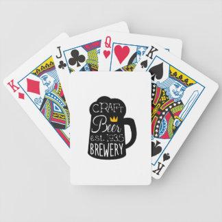Handwerks-Bier-Logo-Entwurfs-Schablone mit halbem Bicycle Spielkarten
