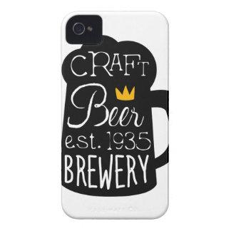 Handwerks-Bier-Logo-Entwurfs-Schablone mit halbem Case-Mate iPhone 4 Hülle