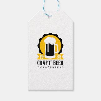 Handwerks-Bier-Logo-Entwurfs-Schablone mit halbem Geschenkanhänger