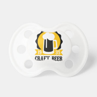 Handwerks-Bier-Logo-Entwurfs-Schablone mit halbem Schnuller