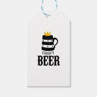 Handwerks-Bier-Logo-Entwurfs-Schablone mit Krone Geschenkanhänger